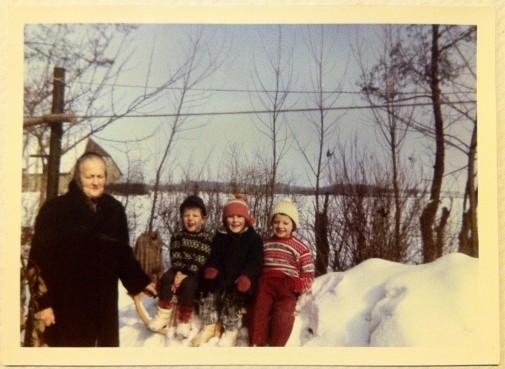 Was will man dazu sagen? Pökse, Schnee, Sonne. Einer davon heißt Herbert. Im Hintergrund der Hof der Familie Findeisen. Foto: privat